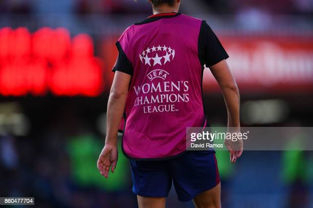 The Logo of UEFA Womens Champions League is seen on a bib during the warm up prior to the UEFA Womens Champions League round of 32 match between FC...