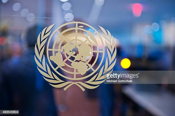The logo of United Nations at UNheadquarters on September 25 2015 in New York United States