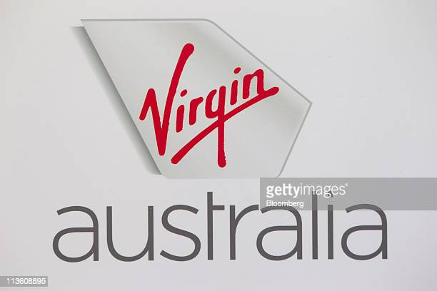 The logo of Virgin Australia Airlines Pty Ltd is displayed during a media event unveiling the new face of the Virgin Blue Group of airlines in Sydney...