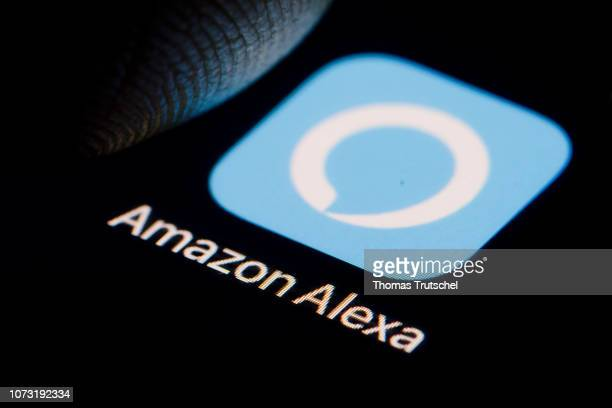 The Logo of virtual assistant Amazon Alexa is displayed on a smartphone on December 14 2018 in Berlin Germany