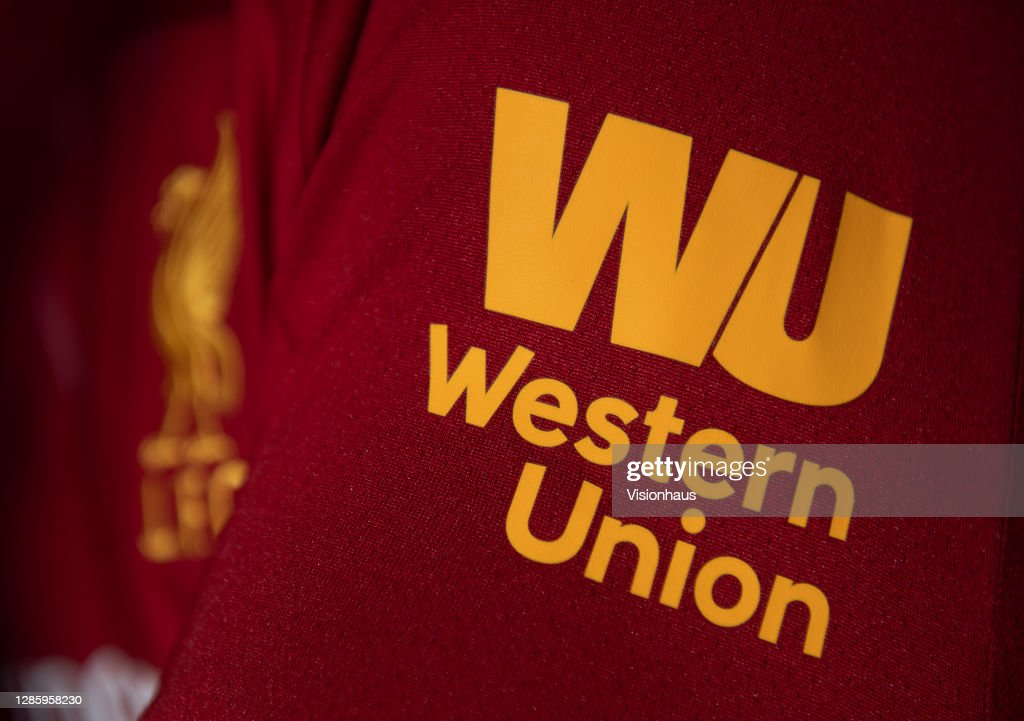 The Western Union logo on the Liverpool Home Shirt : ニュース写真