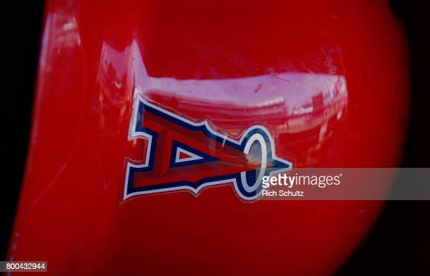 The logo on a Los Angeles Angels of Anaheim batting helmet before a game against the New York Yankees at Yankee Stadium on June 22 2017 in the Bronx...