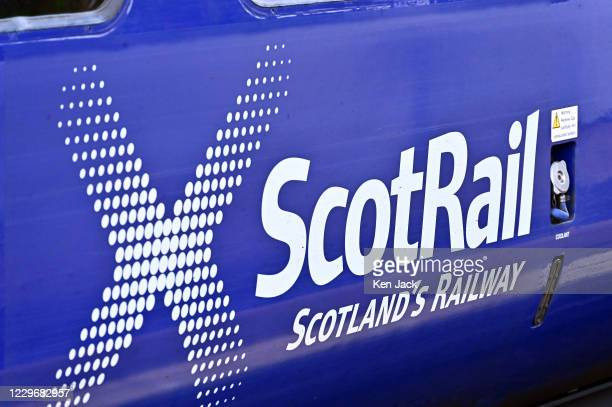 The logo on a ScotRail train as the Scottish Government prepares to put travel restrictions into law from this week, on November 19, 2020 in North...