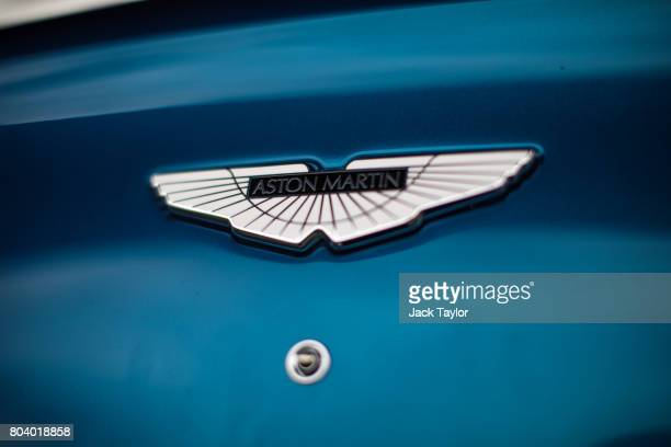 The logo on an Aston Martin Vanquish is pictured at the Henley Regatta on June 30 2017 in HenleyonThames England The five day Henley Royal Regatta is...