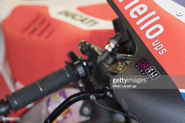 The logo on the Ducati bike for remember Luis Salom of Spain and SAG Team during the MotoGp of Catalunya Qualifying at Circuit de Catalunya on June 4...