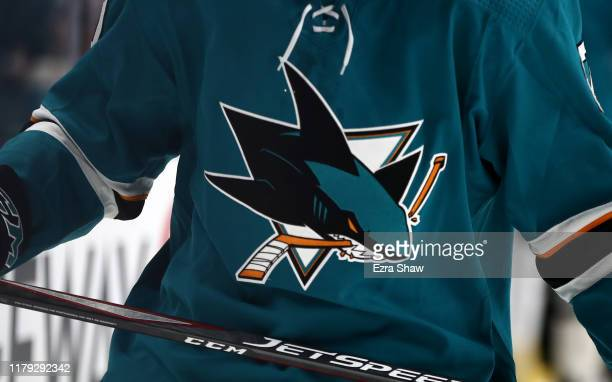The logo on the San Jose Sharks on a jersey during their game against the Vegas Golden Knights at SAP Center on October 04, 2019 in San Jose,...