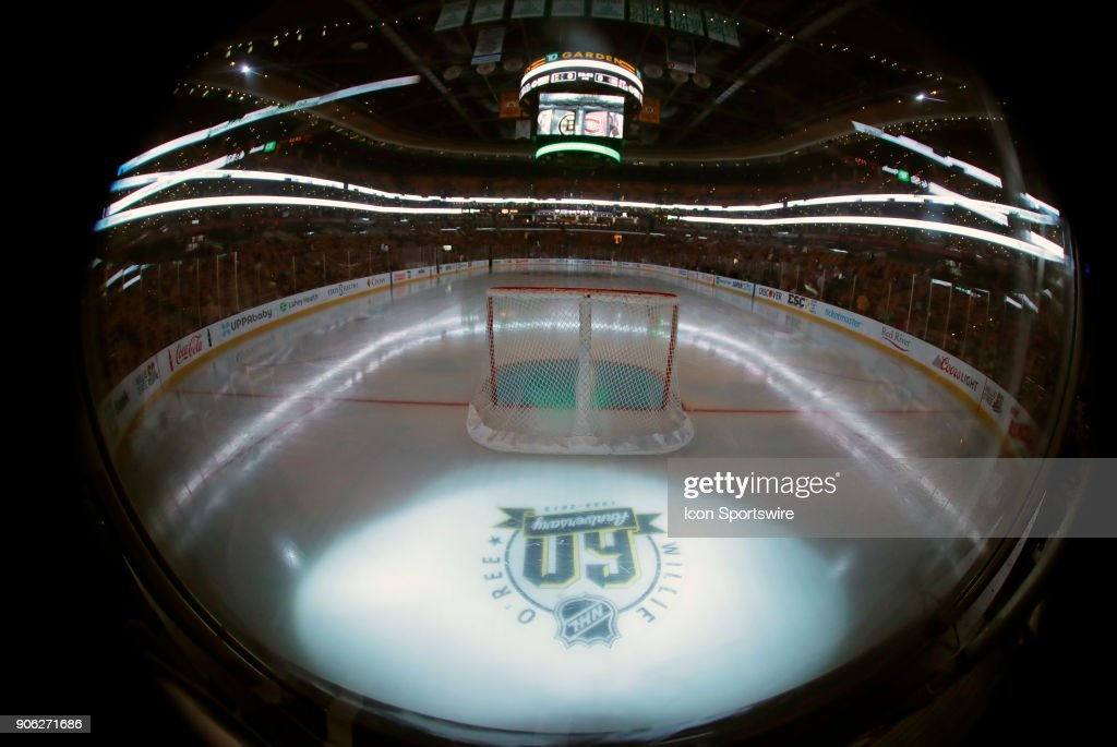 The logo unveiled by the NHL to honor Willie O'Ree breaking the NHL color barrier 60 years ago before a game between the Boston Bruins and the Montreal Canadiens on January 17, 2018, at TD Garden in Boston, Massachusetts. The Bruins defeated the Canadiens 4-1.
