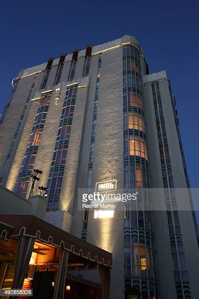 The logos for IMDb Amazon Studios and VISINE are projected onto the side of Sunset Tower Hotel during IMDb's 25th Anniversary Party cohosted by...