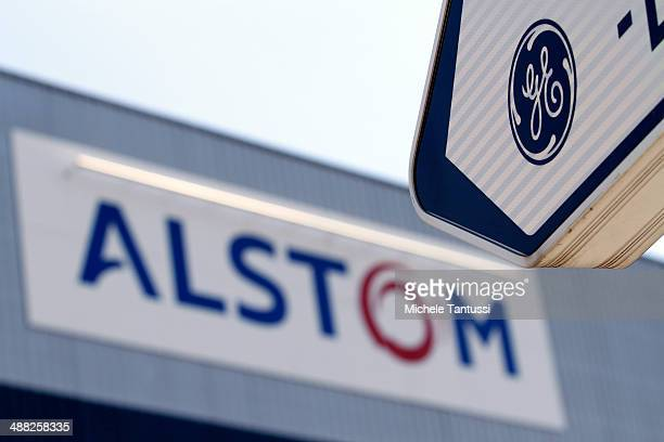 The logos of Alstom S.A. And General Electric stand near each other on May 5, 2014 in Belfort, France. General Electric is seeking to take over...