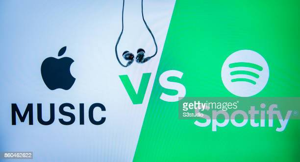 The logos of Apple Music and Spotify apps are shown on October 11 2017 in Hong Kong Hong Kong