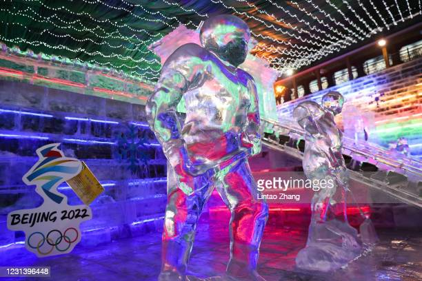 The logos of the 2022 Beijing Winter Olympics are seen at the venue of Yanqing Ice Festival on February 26, 2021 in Beijing, China. The Festival...