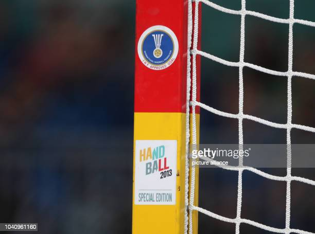 The logos of the competition and of the IHF are seen at a post during the men's Handball World Championships main round match Spain vs Algeria in...