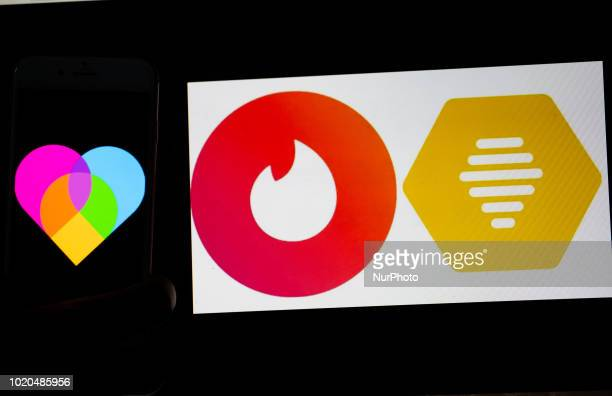 The logos of the dating apps Lovoo Tinder and bumble are seen on a mobile screen and a laptop screen Several Millions use Dating Apps every day...