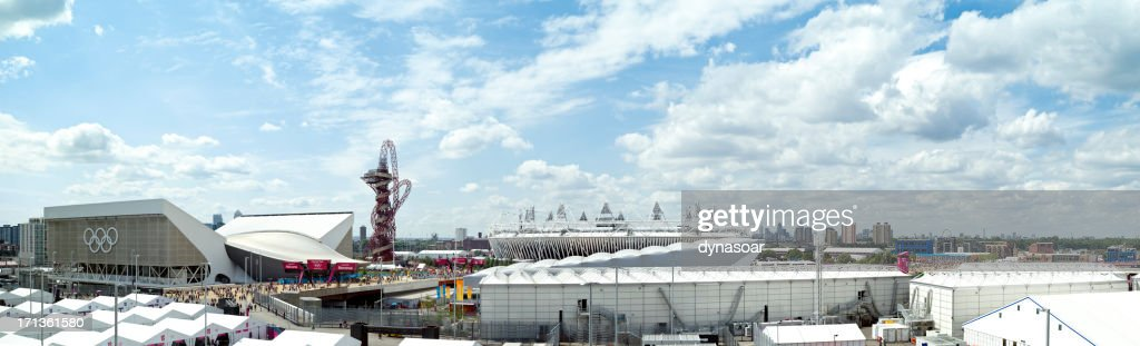 The London 2012 Olympic site on first day of competition : Stock Photo