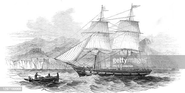 """The London and Madeira packet brig """"Dart"""", entering Funchal Roads, 1845. Sailing ship at the port of Funchal on the island of Madeira. From..."""