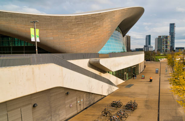 The London Aquatic Center on the Queen Elizabeth Olympic Site Stratford London UK.