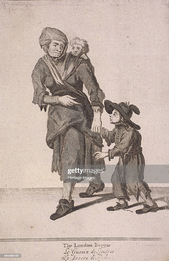 'The London Beggar'. A woman and two children who are beggars. The woman leads one of the children, who is looking up at her beseechingly, by the hand. She carries the other, smaller child on her back. All three are dressed in old, ragged clothes, and the older child wears a large hat. From Cries of London, (c1688?).
