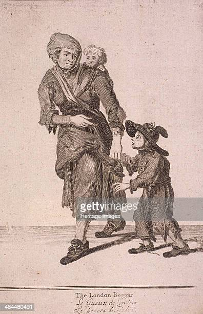 'The London Beggar' A woman and two children who are beggars The woman leads one of the children who is looking up at her beseechingly by the hand...