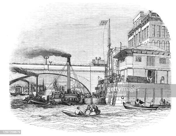 The London Bridge Steam Wharf, 1844. Steamships on the River Thames: 'The spirited scene represented in the engraving - the Steam Packet Wharf at...