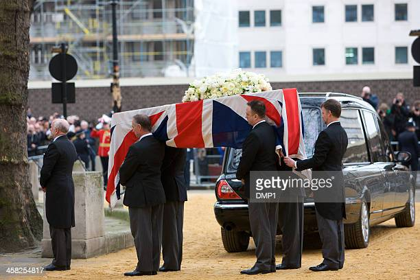 the london ceremonial funeral of former prime minister baroness thatcher - pallbearer stock photos and pictures