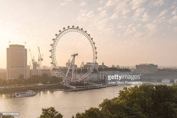 the london eye and the river thames, london. - london eye stock pictures, royalty-free photos & images