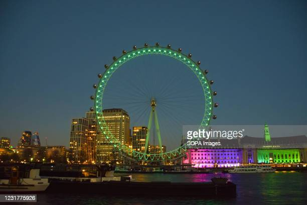 The London Eye illuminated in green on Saint Patrick's Day. A celebration of Irish culture and heritage Saint Patrick's Day takes place annually and...