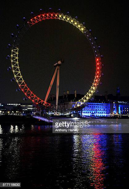 The London Eye one of many London landmarks which have been lit up in support of Belgium following the terrorist attacks in Brussels yesterday on...