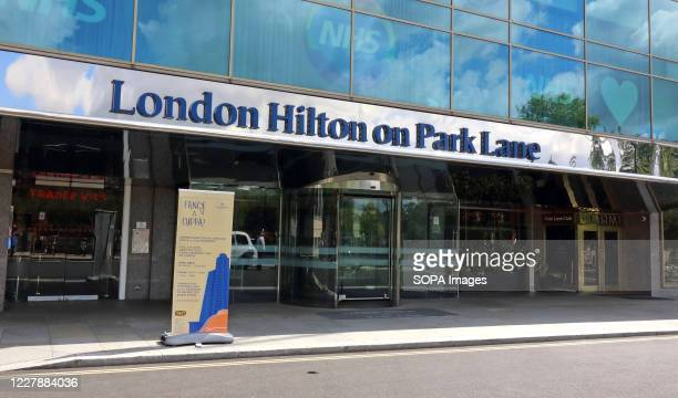 The London Hilton on Park Lane front entrance. Many of London's 5 star Luxury Hotels which are world renowned are still closed, despite the...