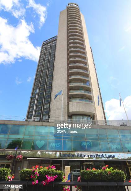The London Hilton on Park Lane towers above the street. Many of London's 5 star Luxury Hotels which are world renowned are still closed, despite the...
