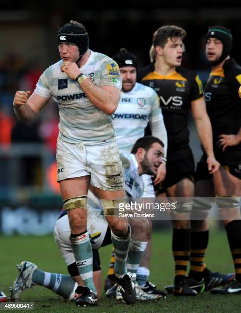 The London Irish captain George Skivington celebrates victory over London Wasps during the Aviva Premiership match between London Wasps and London...