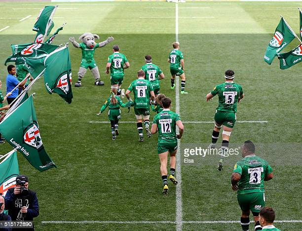 The London Irish take the field before the match against Saracens during the Aviva Premiership match on March 12 2016 at Red Bull Arena in Harrison...