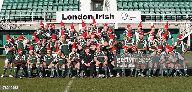 The London Irish team pose for a Christmas team photo during a photo call at The Avenue on November 17, 2007 in Sunbury-on-Thames, England.