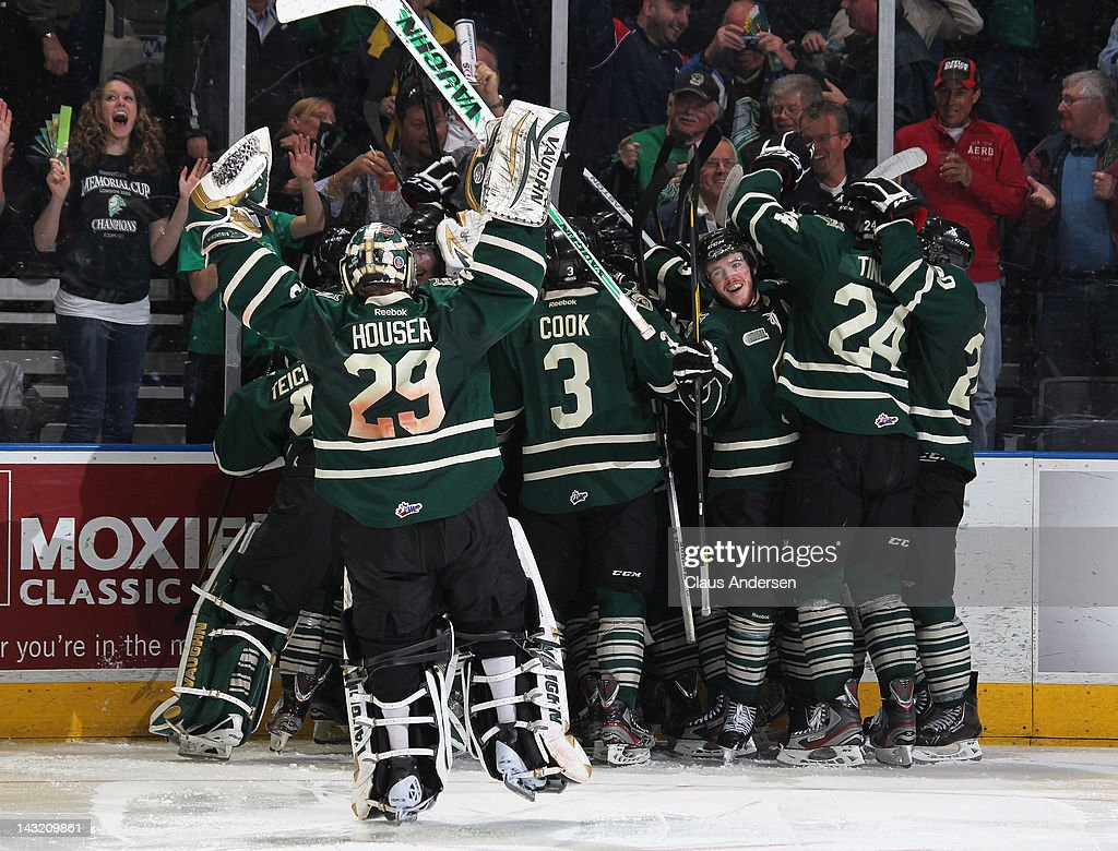 The London Knights celebrate a victory in game 1 of the Western Conference Championship final against the Kitchener Rangers on April 19, 2012 at the John Labatt Centre in London, Canada. The Knights defeated the Rangers 3-2 in overtime to take a 1-0 series lead.