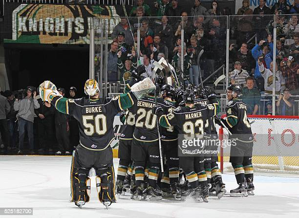 The London Knights celebrate defeating the Erie Otters in the OHL Western Conference Final on April 27 2016 at Budweiser Gardens in London Ontario...