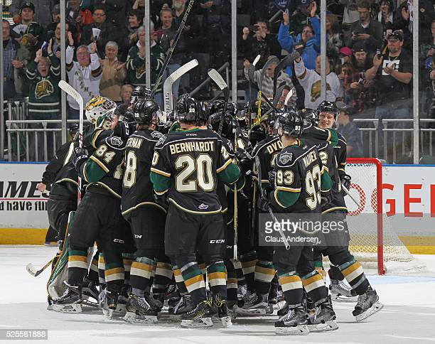 The London Knights celebrate their victory against the Erie Otters in game four of the OHL Western Conference Final on April 27 2016 at Budweiser...