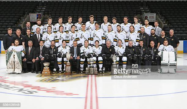 The London Knights pose for a team photo with the 2016 Memorial Cup trophy at Budweiser Gardens on May 31 2016 in London Ontario Canada upon arriving...