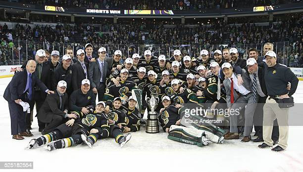 The London Knights pose with the Wayne Gretzky Trophy after defeating the Erie Otters in the OHL Western Conference Final on April 27 2016 at...