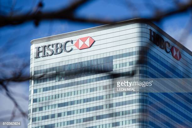 The London offices of HSBC are seen in the Canary Wharf district of London on February 15 2016 Europe's largest bank HSBC informed the financial...