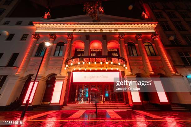 The London Palladium lit up in red as part of the #Lightitred campaign on September 30, 2020 in London, England. Venues across the UK turn their...