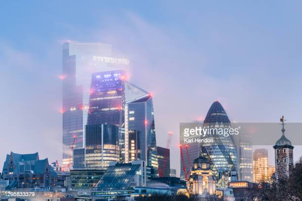 the london skyline at dawn - stock photo - winter stock pictures, royalty-free photos & images