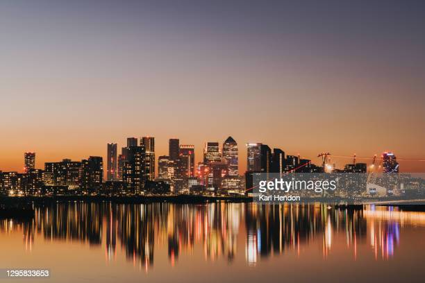 the london skyline at dusk - stock photo - the o2 england stock pictures, royalty-free photos & images