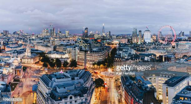 the london skyline at dusk - stock photo - skyline stock pictures, royalty-free photos & images