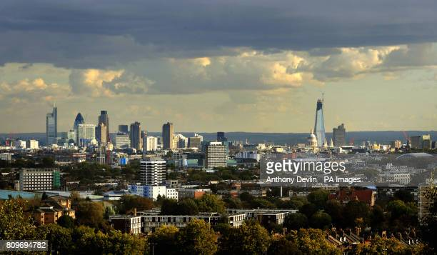 The London skyline from Parliament Hill including the City of London and St Paul's Cathedral and the Shard Building London