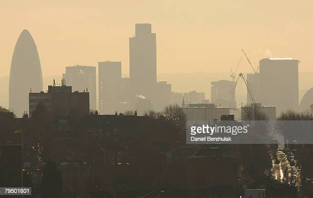 The London skyline including the Gherkin is visible through a haze of pollution at Alexandra Palace on February 4 2008 in London England The start of...