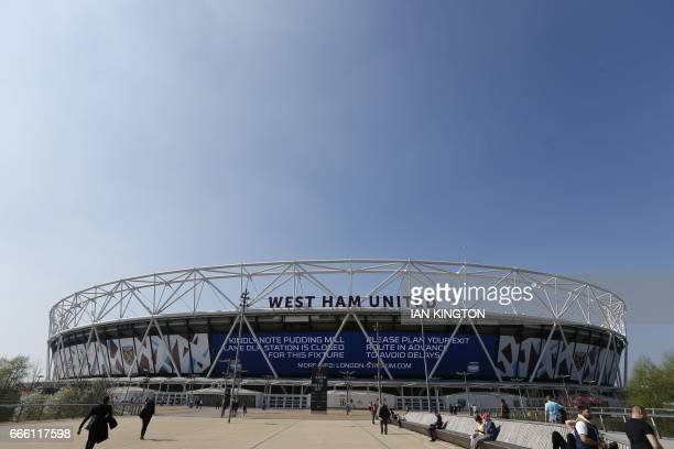 The London Stadium is seen ahead of the English Premier League football match between West Ham United and Swansea City at The London Stadium in east...