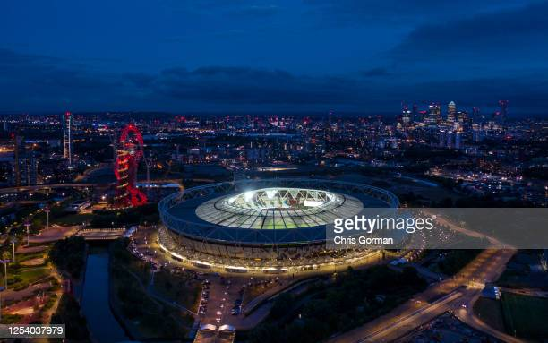 The London Stadium remains empty following the Premier League match between West Ham United and Chelsea FC at London Stadium on July 01, 2020 in...