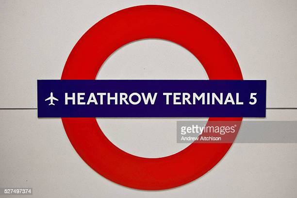 The London underground sign for Heathrow terminal 5