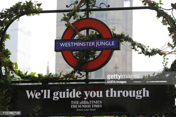 The London underground sign for Westminster tube station is changed to Westminster Jungle as part of a promotion by The Times and The Sunday Times...