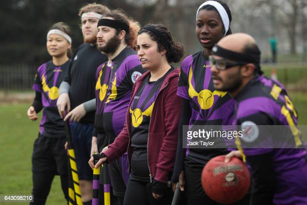 The London Unspeakables quidditch team watch a game from the sidelines during the Crumpet Cup quidditch tournament on Clapham Common on February 18...