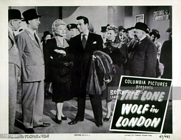 The Lone Wolf In London lobbycard Denis Green Nancy Saunders Gerald Mohr Evelyn Ankers Eric Blore 1947